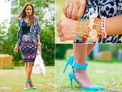 Laureen Uy - Sheryl Vicente Top, Sheryl Vicente Skirt, Mels Collection Bracelets, Feet For A Queen Heels, Mels Collection Necklace, Givenchy Bag, Alexander Mcqueen Belt - Peacock (BMS)