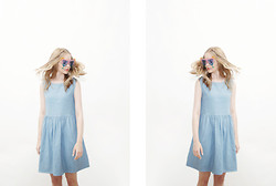 THE WHITEPEPPER - The Whitepepper Sleeveless Angel Dress Denim - Sleeveless Angel Dress Denim