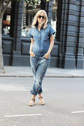 THEFASHIONGUITAR - - Prada Sunglasses, Zara Top, Acne Studios Jeans, Zara Sandals - Double denim