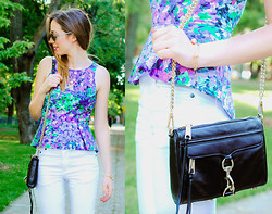 Gabrielle Lacasse - Sugarlips Secret Garden Top, Rebecca Minkoff Mini Mac Bag, Cheap Monday White Jeans - It is what it is