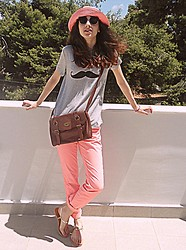 Stella Pnp - Romwe Mustache Top, H&M Coral Pants - CoraL and mustaches