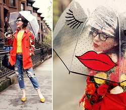 Keiko Lynn - Felix Rey Kissy Face Umbrella, Anthropologie Floral Trench, 7 For All Mankind Boyfriend Jeans, Joie Crochet Top - Kiss, Kiss!