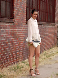 Kate Schneider - Akira Sheer Panel Blouse, Hype Bag, Laugh Cry Repeat Neon Edge Shorts, Forever 21 Heels - Nearly neutral