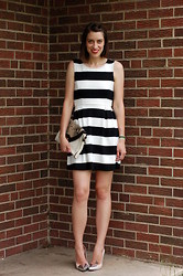 Kate Schneider - Forever 21 Striped Dress, Zara Cap Toe Heels - Preppy