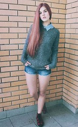 Olya Ivanova - New Yorker Sweater, Pull & Bear Denim Shorts, H&M Gumshoes - Almost swag.
