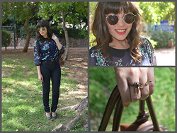 Reut Shechter - Carolina Lemke Sunglasses, Marks And Spencer Blouse, Castro, Sammy Dress Rings, Ccc Bag, Nine West Shoes, Swatch Watch - Floral & Blue