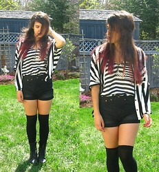 Stephanie Blinn - Romwe Striped Blouse, Max C Striped Shirt, H&M Shorts - Now, Bring Me That Horizon