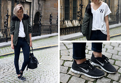 Sietske L - H&M Tee, Zara Jacket, Nike Sneakers - From army to baseball