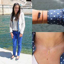 The Camelia - Bershka Nude Blazer, Only Dotted Jean Shirt, H&M White Tee, ? Electric Blue Pants, New Look Navy Blue Flats, Asmé Scalloped Wood Bracelet, Avnis Jewelry Feather Necklace - Blue variations