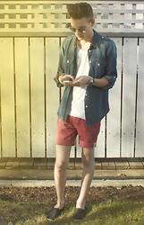 Andrew Eirich - Michael Kors Denim Shirt, Zara White V Neck, Simons Shorts - Before The Leaves.
