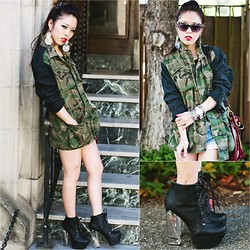 Aika Y - Urban Outfitters Camo Oversized Jacket, H&M Clear Earring, Charlotte Russe Clear Heel Lace Up Booties - Lucite Spring Camo