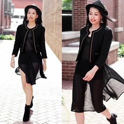 Tammy Defox - Forever 21 Classic Blazer, Forever 21 Fedora, Topshop Sheer Dress, H&M Ankle Boots - Chic and Wild