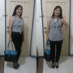 Leign Gamit - Forever 21 Sleaveless Striped Top, Nine West Quilted Bag W/ Chain Straps - Stripes it is!