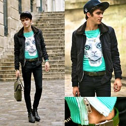 "Matthias C. - April 77 Jacket, Choies Cat Sweater, Nozo Cap, Louis Vuitton Bralcet, Zara Belt, Vintage Bag - ""Bastet"""