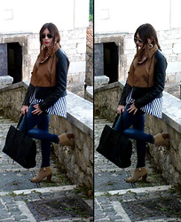 D De - Ray Ban Sunglasses, Stradivarius Jacket, Balenciaga Papier, Zara Ankle Boots, H&M Shirt - Stripes and stones