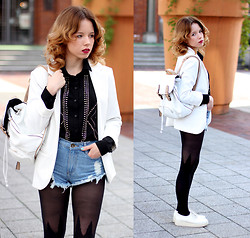 Wioletta Mary Kate - Sheinside Blazer, Sophiscat Shirt, Sheinside Shorts, Parfois Backpack, Mellow Yellow Shoes - 3 x White
