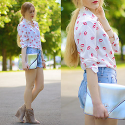 TIPHAINE MARIE - Persun Blouse, Modekungen Shorts, Chic Wish Clutch, Ash Footwear Booties - KISS KISS