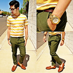 Shawn C. - Target Striped V Neck, H&M Chinos, Michael Kors Gold Watch - Sun-kissed