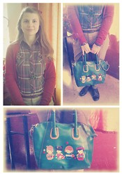 Loredana Oprea - Tako Green Pants, New Look Green&Red Shirt, H&M Red Blazer, Meli Melo Flower Necklace, Local Store Green Bag - Red&Green, my fav