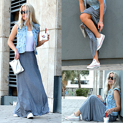Dena T. - H&M Maxi Skirt, Zara Studded Denim Vest - MAXI SKIRT & SNEAKERS
