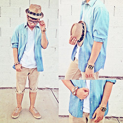 Shawn C. - Diy Ombre Denim Shirt, Levi's® Diy Cuffed Shorts, Jc Penny Fedora - Ombré Summer