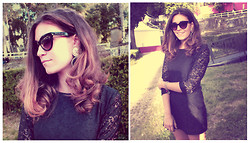 Giulia A. - Marc By Jacobs Sunglasses, Eco Mood Earrings - Black Lace