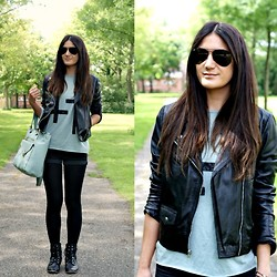 Tara Verbon - Ray Ban Sunglasses, Leather Jacket, Bag, New Look Boots - Black & Minty