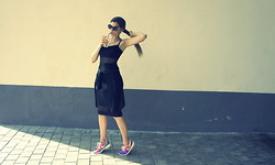 Trendbutter - Asos Black Cut Out Bodycon, Sunglasses, H&M Sheer Blouse, Nike Sneakers Roshe Run - Love Nike Roshe Run
