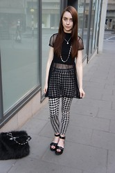 Chelsea Jade - Dress, H&M Leggings, Asos Sandals - Mesh and Houndstooth