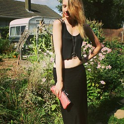 Hayley (FashionAndMe) - New Look Crop Top, Urban Outfitters Peace Necklace, Maxi Skirt - Gypsy
