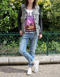 Audrey B - Jacket, Zara Jeans, Jennyfer T Shirt, Converse Sneakers -  In the park with the flowers