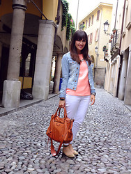 Vanessa P. - Zara Shirt, Zara White Jeans, Balenciaga Bag, H&M Denim Jacket - Neon Goes With Everything