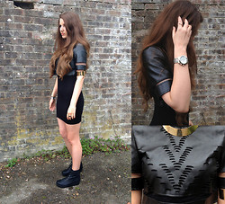 Chol Fable - Laser Cut Top, Long T Shirt, Black Worker Boots - LASER CUT