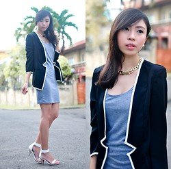 Gillian Uang - Black Blazer With White Piping, Grey Shift Dress, Céline White Heels - Back
