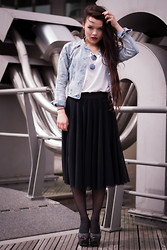 Jane S. - Monki Denim Jacket, Topshop Boyfriend Shirt, H&M Skirt, Nelly Heels - Holy moly, me oh my, you're the apple of my eye.