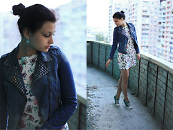 Vitaliya Nadezhdina - Zara Denim Studded Jacket, Zara Floral Dress, Converse Turquoise, Swarovski Crystal Earings - Powers of flora are with me