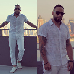 Andres Elias - Gap White Jeans, Aldo White Loafers, Ray Ban Black Wayfarers - Bitch Don't Kill my Vibe