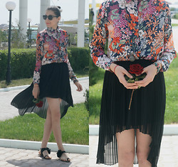 Aigyz Rebelle - Zara Print Flower, Polar Retro Sunglasses, Zara Skirt, Noname - Colorful flower