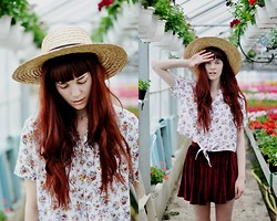 Josefin W - Second Hand Sun Hat, Second Hand Blouse, American Apparel Velvet Skirt - Oh glory