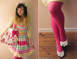 Elodie De Frise - H&M Fuschia Tights, H&M Spring Dress, Handmade Floral Crown, Dreamv White Shoes - Young and beautiful ♫