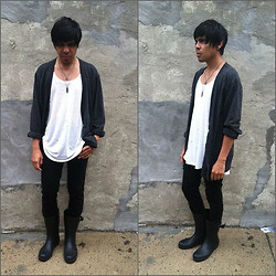 "Balthazar Interrupted - Bdg Oversized Cardigan, Aldo Skull & Cross Necklace, H&M ""Lanc County Cook Off"" Necklace, H&M ""Looks Like Rice Feels Like Paper"" Tank Top, Uo ""Low Profile"" Rain Boots - Black tin box"