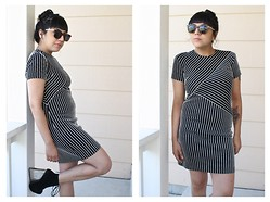 Felicia Renee - Urban Outfitters Tortoise Shell Sunglasses, Buffalo Exchange Denver Black And White Striped Dress, Jeffrey Campbell Clear Wedge Ankle Boot - We Could be Two Straight Lines in a Crooked World