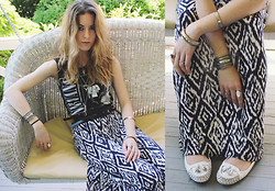 Lauren Schoonover - Nirvana Tank Top, Forever 21 Tribal Print Maxi Dress, Le Bunny Bleu Leather Slip On Loafers - Outfit 179