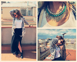 Sofia Vagueiro - Fashion Pills Fringe Cardigan, H&M Black Long Skirt, River Island Aztec Wings Necklace - My Aztec Wings