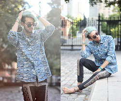 Bobby Raffin - H&M Waved Shirt, Urban Outfitters Embroidered Pants, American Apparel Sunglasses - Virtual Oceans