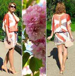 La_Frivole - - Traffic People Silk Chiffon Uk Flag Print Dress With Cut Out Back, Zara Nude Leather Court Shoe With Pointed Toe - Cherry Blossoms and The British Flag