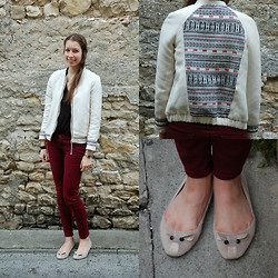 The Camelia - Pull & Bear Aztec Back Bomber, H&M Black Tee, Stradivarius Burgundy Pants, Attentif Mouse Flats - Aztec back