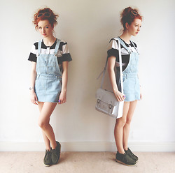 Hannah Louise - American Apparel Striped T Shirt, Dungaree Dress, Primark Satchel, Clarks Wallabee Boots - Dungarees