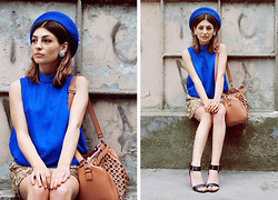 Ma Petite - Moussy Blouse, Beret, Atmosphere Glitter Skirt, Lindex Sandals, Parfois Bag - Oh Ruby Blue