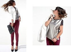 Chic Adventure It! By Giha - Zara Blazer, Be&D Clutch, Urban Outfitters Pants - Burgundy & Silver